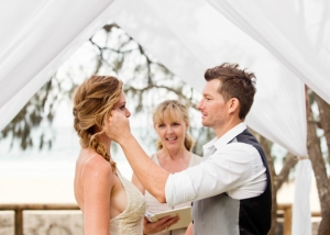 Elopement Ceremony at Hidden Grove, Noosa Beach. Noosa wedding celebrant, Patricia Quinn