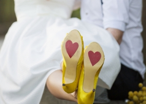 Bride with Hearts on the soles of her shoes